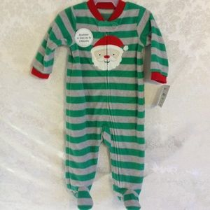 Santa Face 1Pc Foot PJ Infants Green Grey Striped